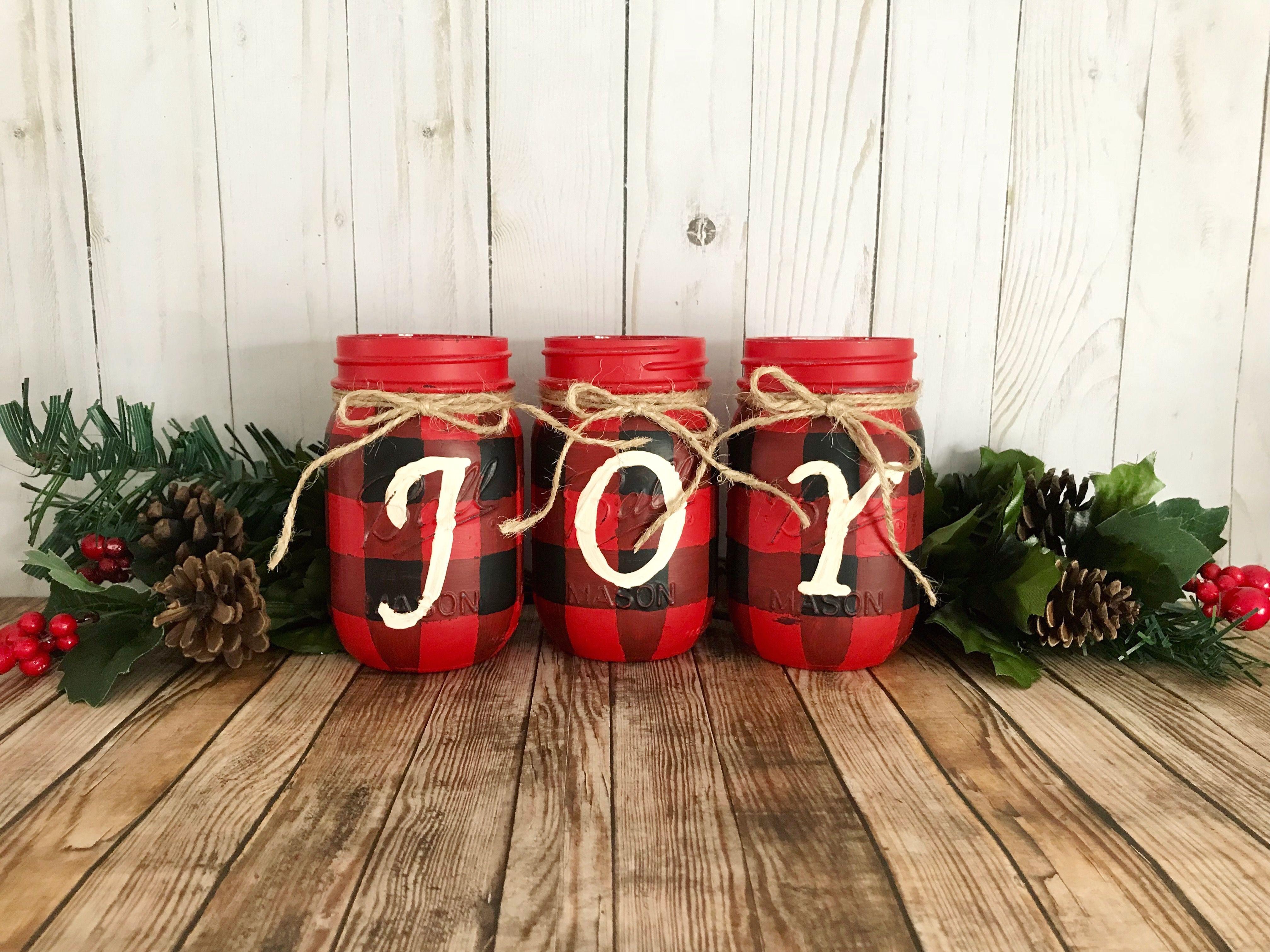 Buffalo Plaid Christmas Mason Jars Red And Black Buffalo Check Christmas Cent Christmas Mason Jars Rustic Christmas Ornaments Buffalo Plaid Christmas Decor