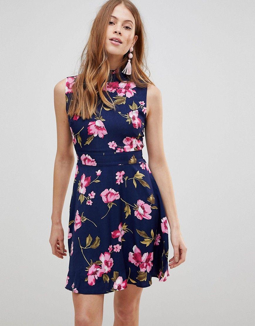 Uttam Boutique - Kleid mit Blumenprint und Rüschen am Hals ...