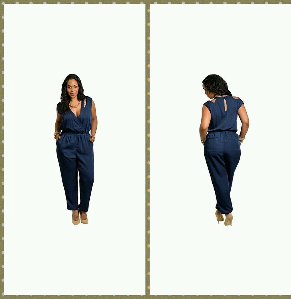 Plus Size Navy Blue Jumpsuit Size 2x Classy Outfits Pinterest