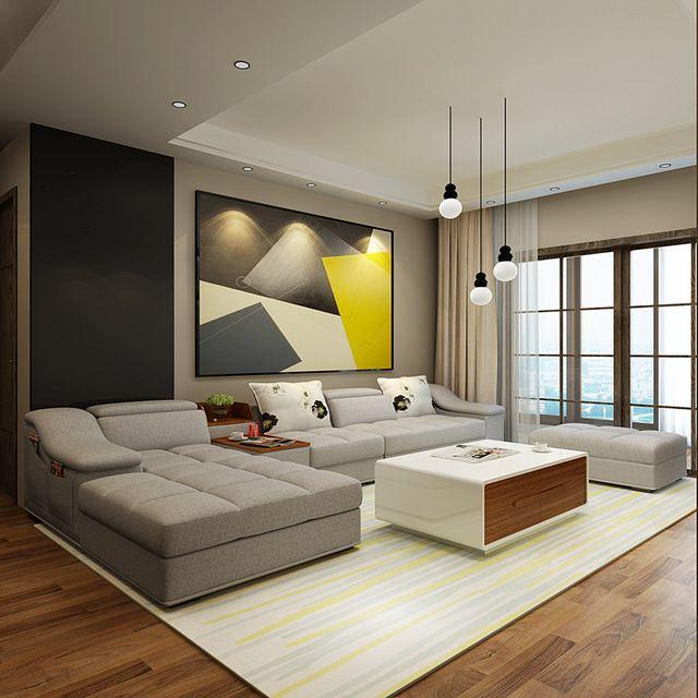 Muebles de sala moderno en forma de l tela sof seccional for Sala design moderno