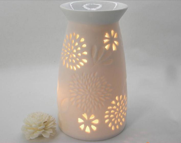 White Vase Shape Carved Pattern Handmade Ceramics oil burner