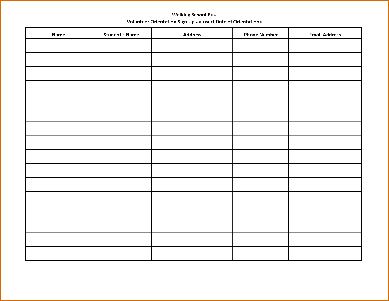 calendar sign up sheet