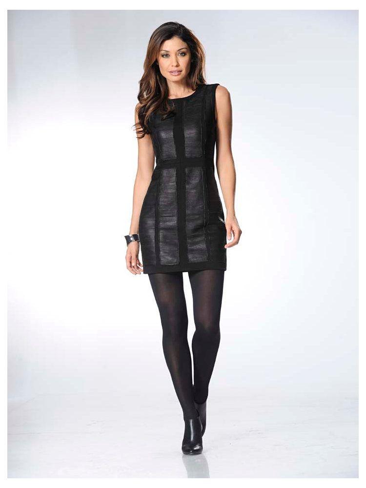 robe automne hiver 2015 mode femme robe en cuir noire. Black Bedroom Furniture Sets. Home Design Ideas