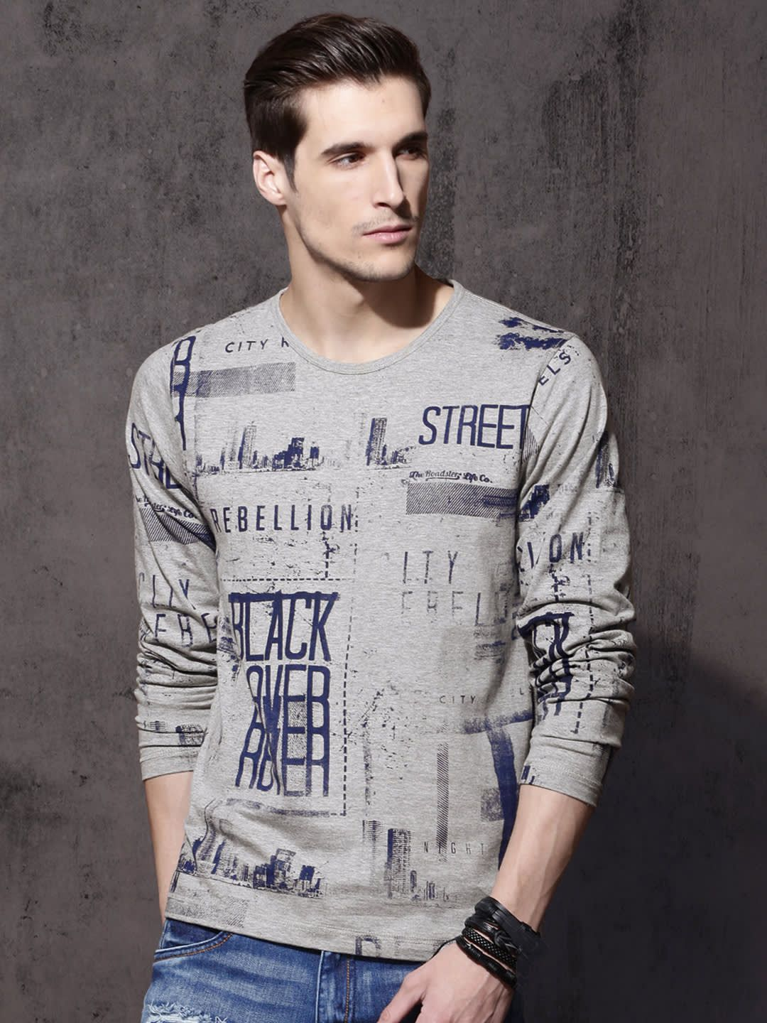 8e5fdc4c Buy Roadster Men Grey Melange Printed Round Neck T Shirt - - Apparel for Men  from Roadster at Rs. 349