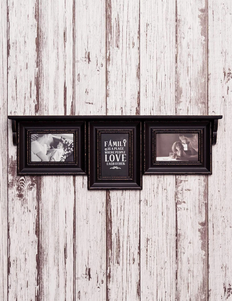 Distressed Black Shelf With Photo Frames In 2020 Home Decor Items Online Photo Frames Frame