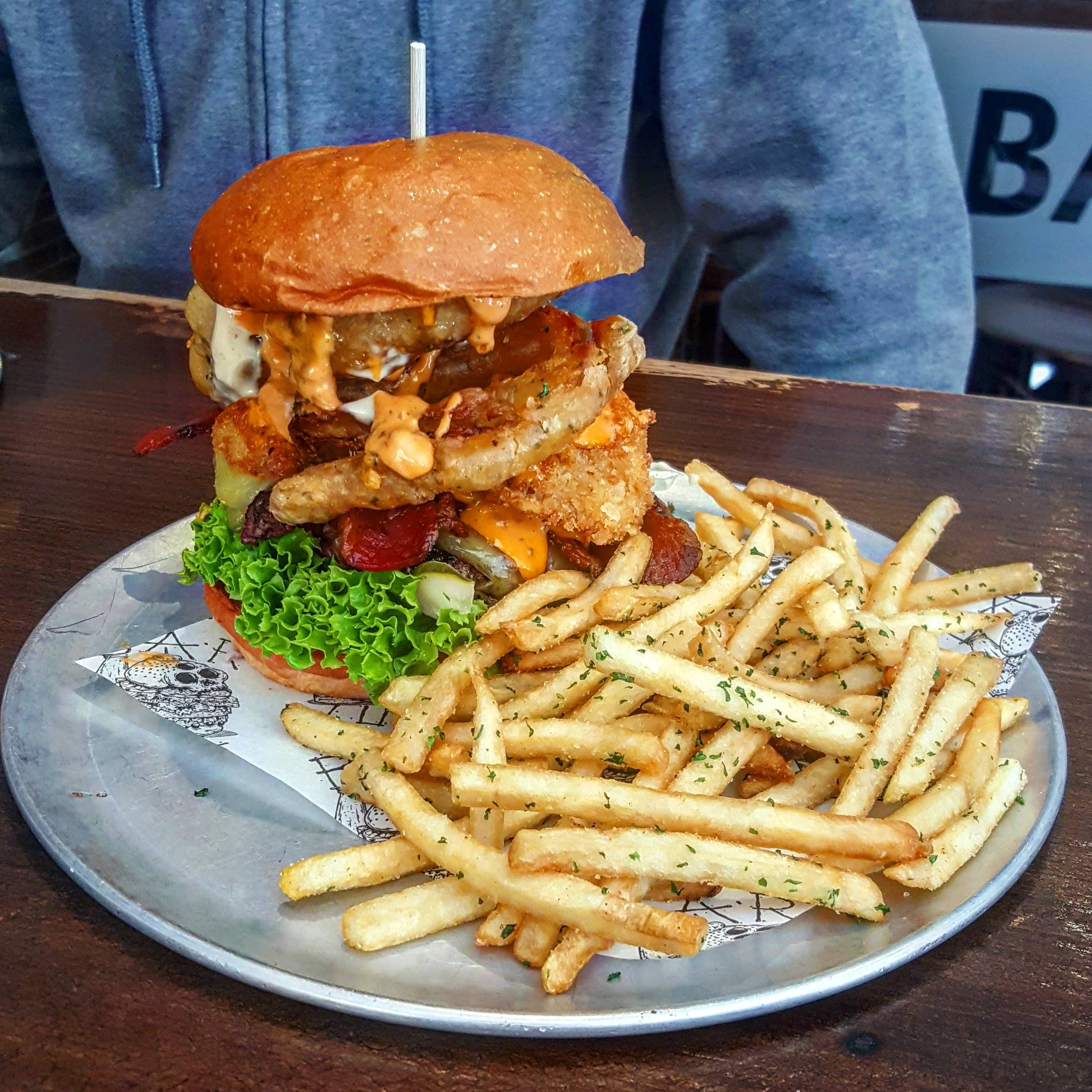 Surf And Turf Burger From Sydney Australia Recipes Food Cooking Delicious Foodie Foodrecipes Cook Recipe Health Surf And Turf Food Burger