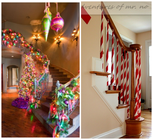 Here are some fun ways to decorate your stairs this for Stair railing decorated for christmas