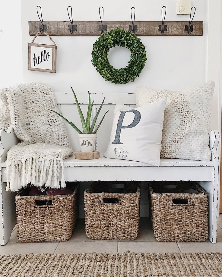 Weekly Roundup spring summer home decor front entry entryway pew bench kirklands rae dunn hooks boxwood wreath aloe vera baskets jute rug target personalized initial pillow etsy hello sign basketweave throw white magnolia home pillow farmhouse style