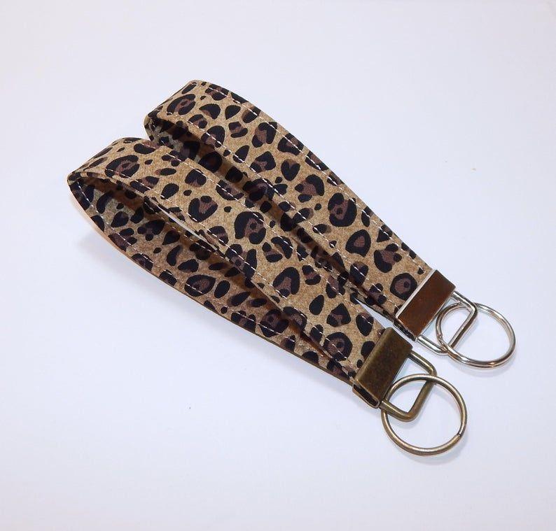 Animal Print Keychain Leopard Print Mini Key Fob Keychain Lanyard Black and Brown Leopard Print Keychain
