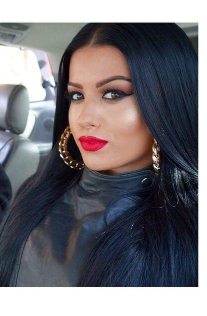 Dark Hair Red Lips Gold Hoop Earrings