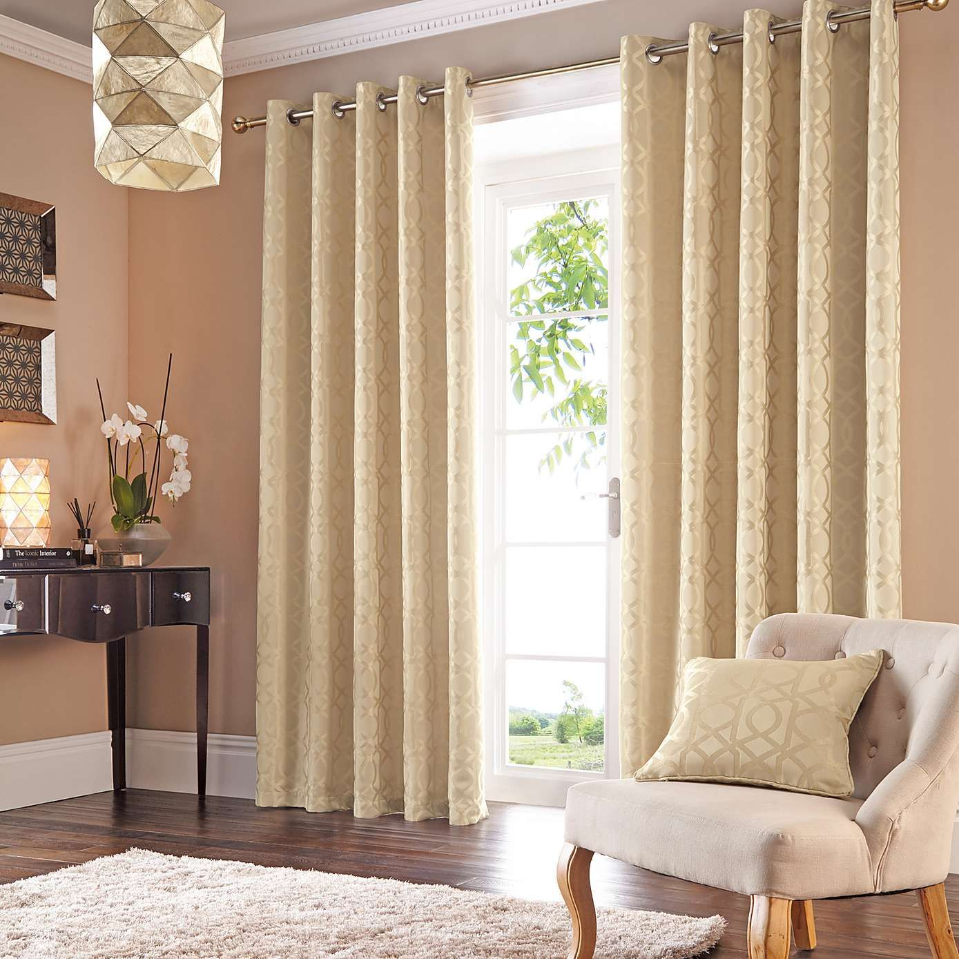 Gold Persia Lined Eyelet Curtains Dunelm
