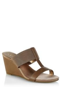 Wide Width T-Strap Stretch Band Wedges