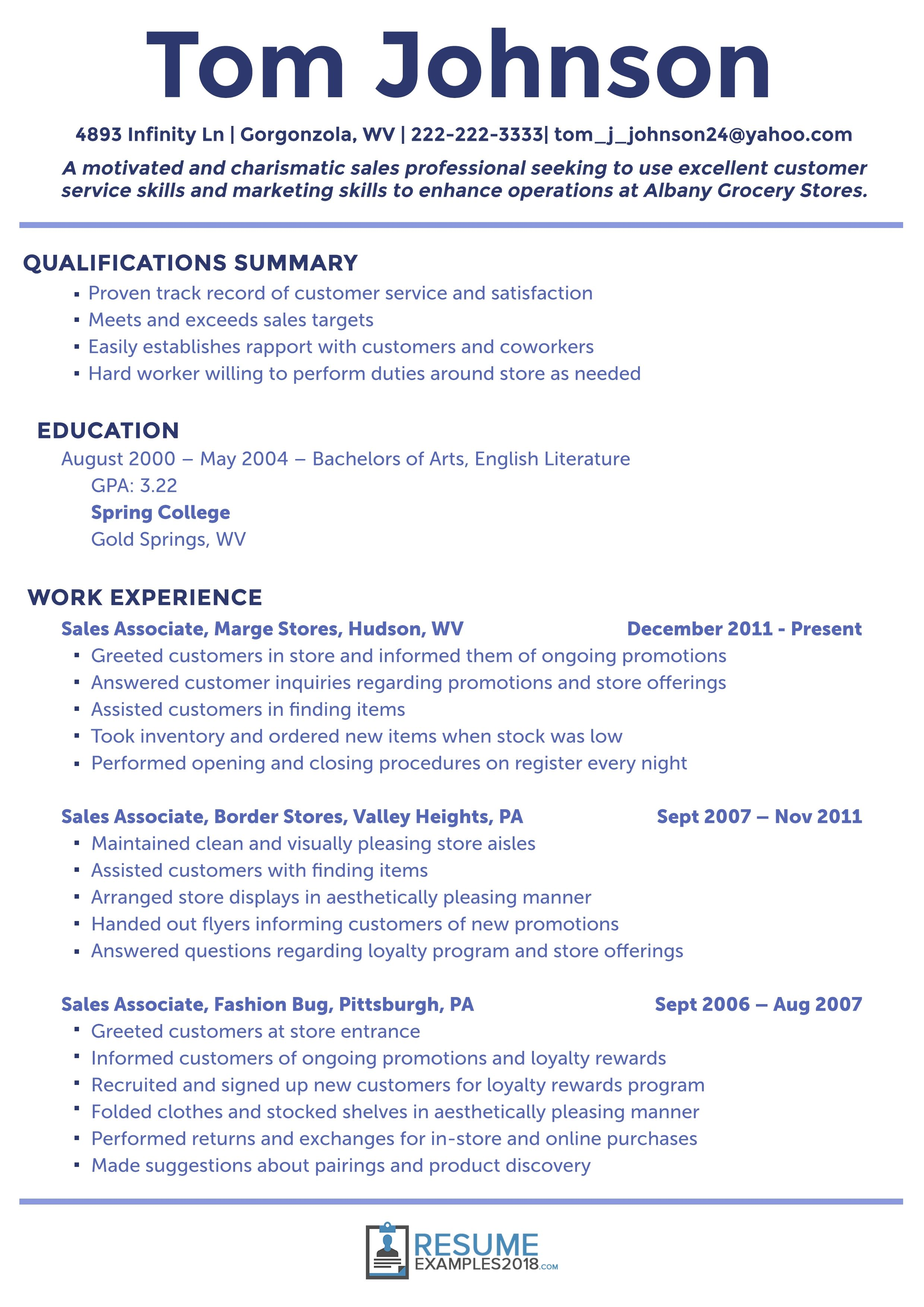 2018 Examples Sales resume examples, Good resume