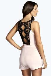 Cally Crochet Back Wrap Front Playsuit
