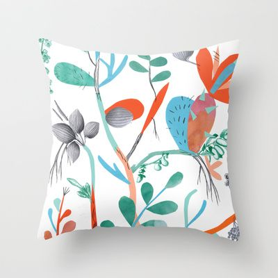 strange plants composition nr 3 Throw Pillow by LIGA KITCHEN ILLUSTRATION/ LONDON - $20.00