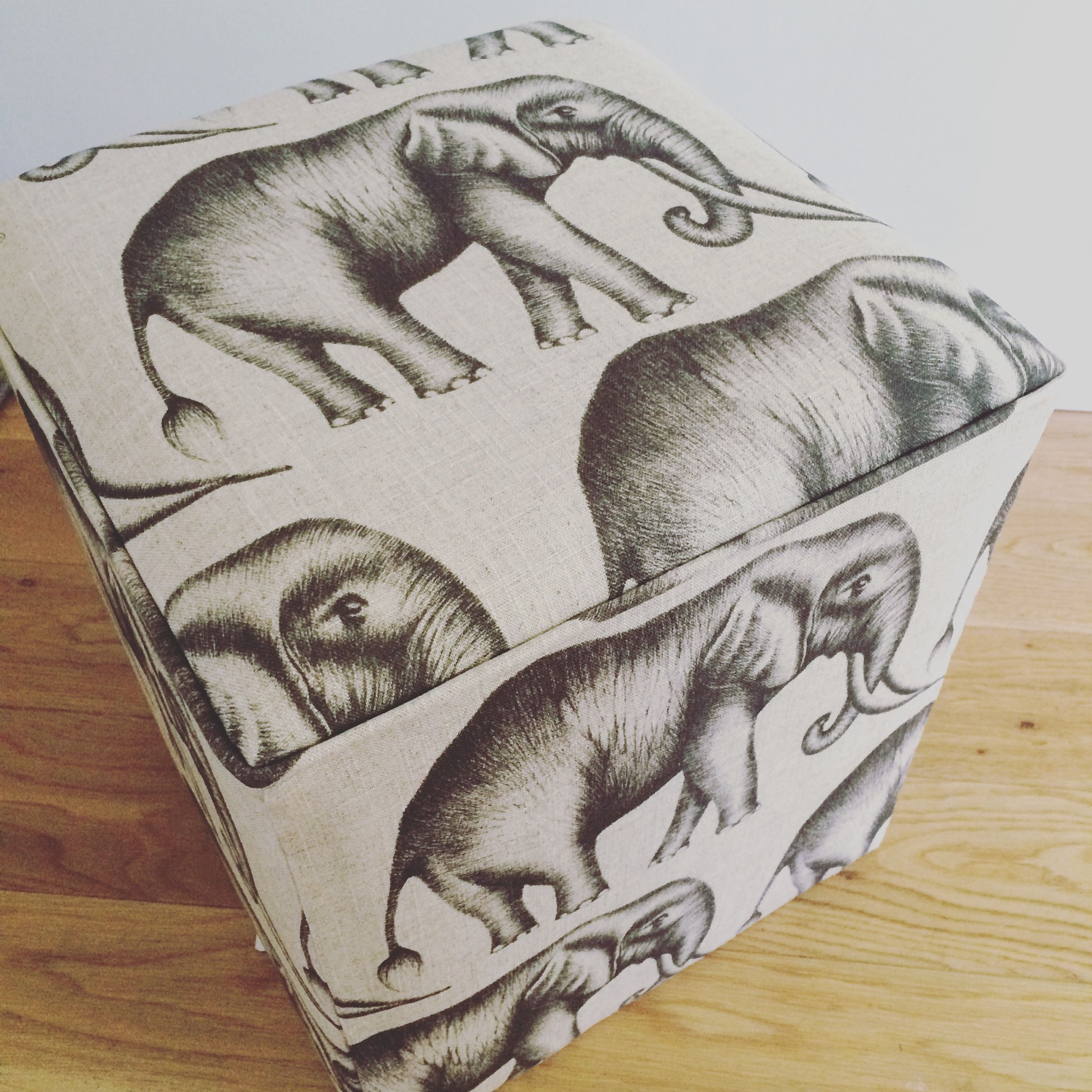 Elephant style footstool, african theme stool in taupe and grey