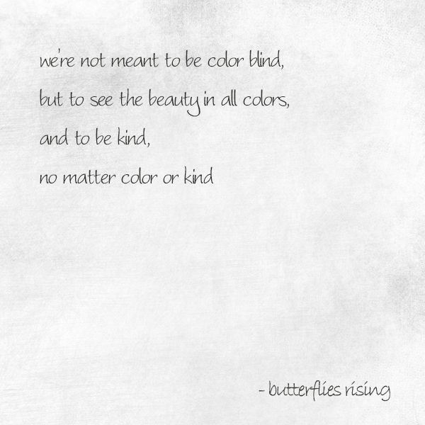 We Re Not Meant To Be Color Blind But To See The Beauty In All Colors And To Be Kind No Matter Color Or Kind Butterf Best Quotes Blind Quotes Color