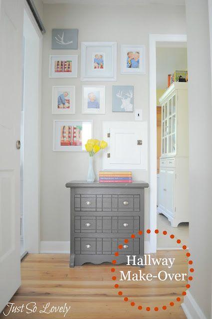 Hallways Makeover, I like the gray dresser, via Just So Lovely