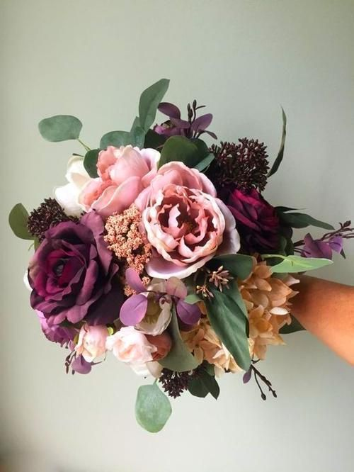 Fall Wedding #silkbridalbouquet My wedding Fall Wedding Bouquet Purple Bridal Bouquet Silk Wedding #bridalbouquetpurple