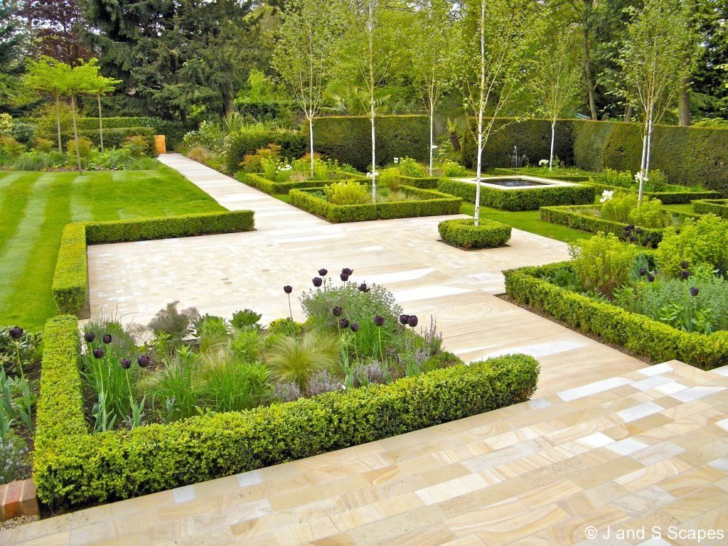 Modern classic gardens from the j s scapes portfolio for Domestic garden ideas