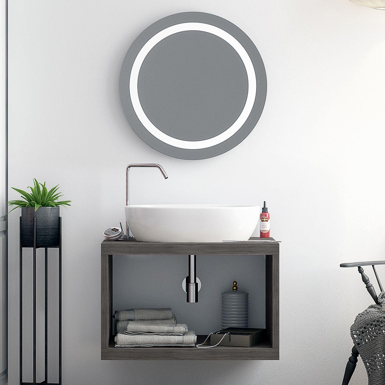 Mobile Bagno New York mobile da bagno sospeso 60 cm grigio rettangolo a vista per