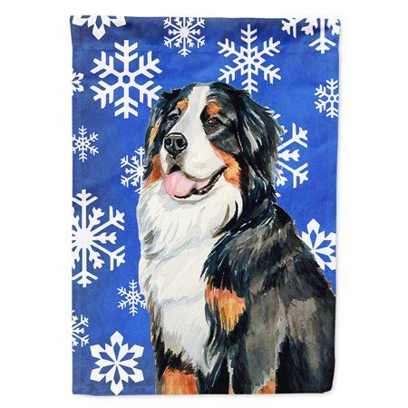 Bernese Mountain Dog Winter Snowflakes Holiday Flag Canvas House Size - Walmart.com