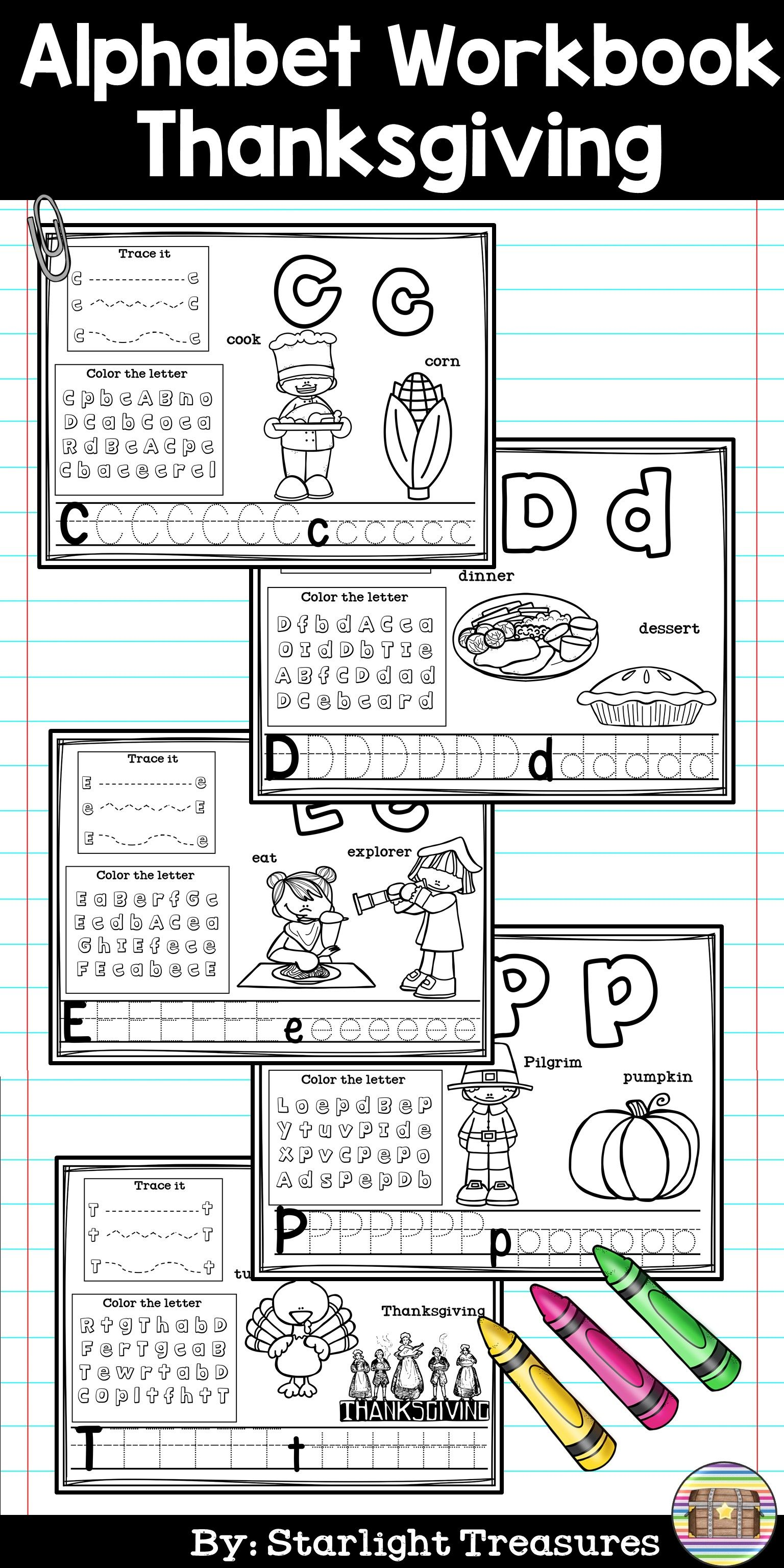 Alphabet Workbook Worksheets A Z Thanksgiving Theme