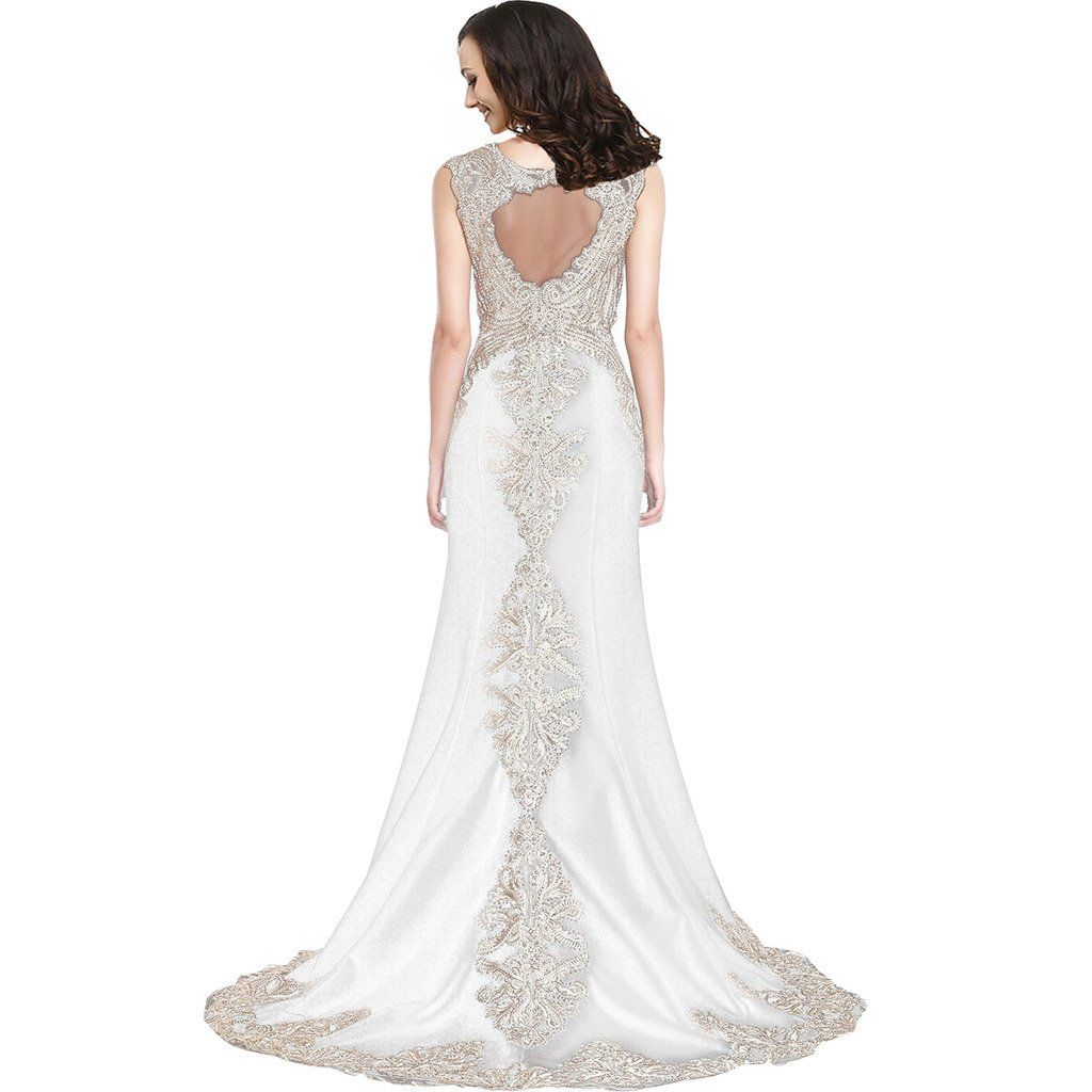 Lemai womenus mermaid lace sheer back formal long prom gowns evening