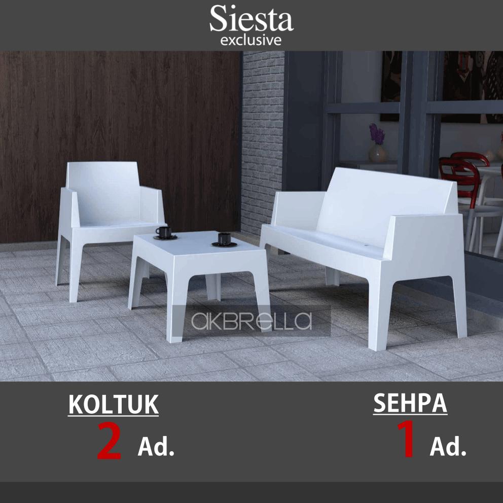Beyaz Tekli Ikili Plastik Koltuk Takimi Akbrella 02 Koltuklar Sandalye