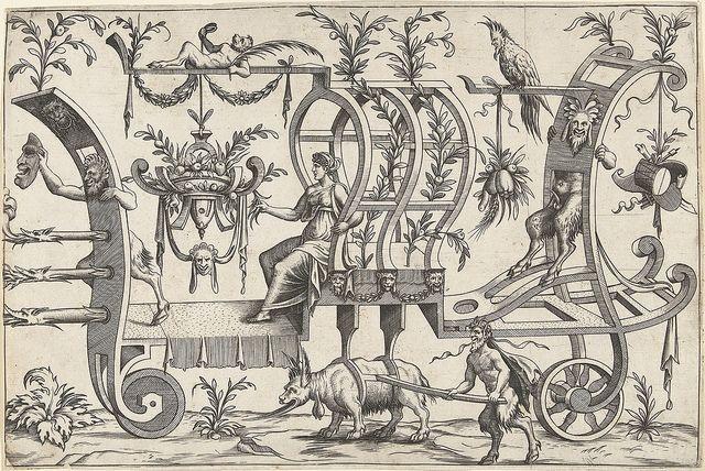 Carro tirado por un animal de fantasía (como una cabra?) - El carro tiene una mujer sentada y sátiros cuatro, uno de los sátiros en la parte delantera del coche es la celebración de una máscara en la mano, sin un nombre. [1550]