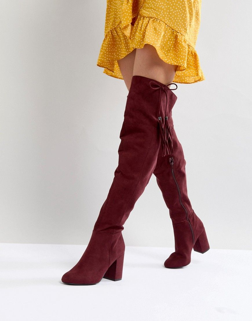c015b6de78e NEW LOOK TASSEL OVER THE KNEE BOOT - RED. #newlook #shoes #   New ...