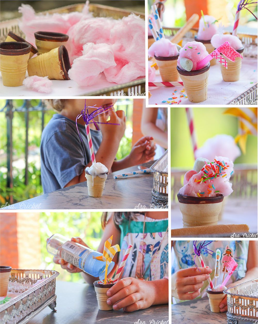 Algodón de azúcar en conos para fiesttas infantiles