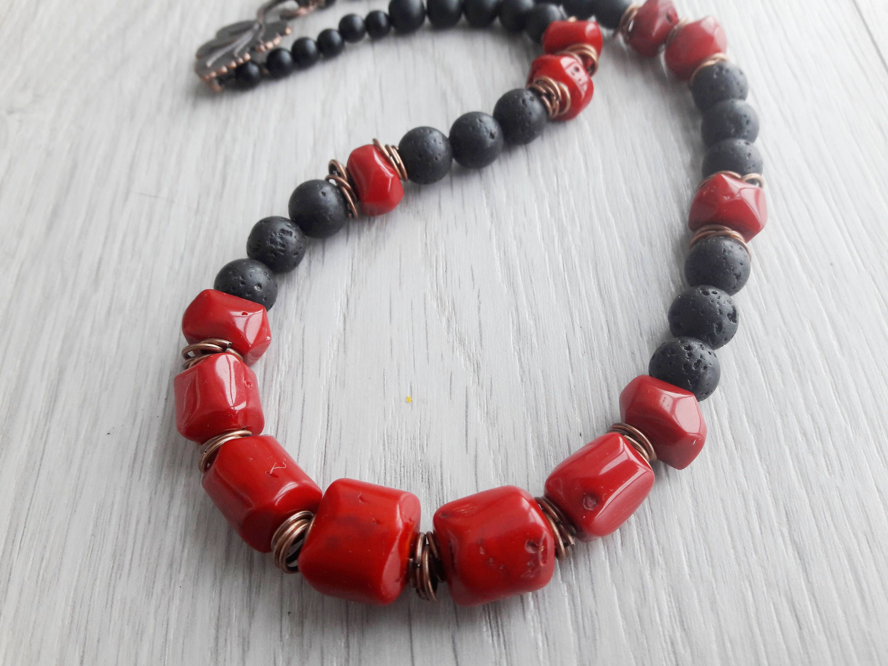 Red Coral necklace Lava necklace Natural lava Red coral Volcanic lava necklace Lava stone Lava rock coral