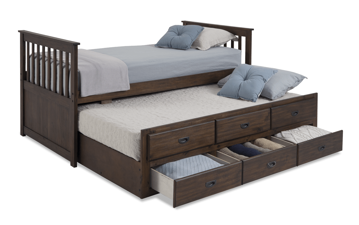 Chadwick Twin Gray Captain Bed With Trundle Trundle Bed Twin