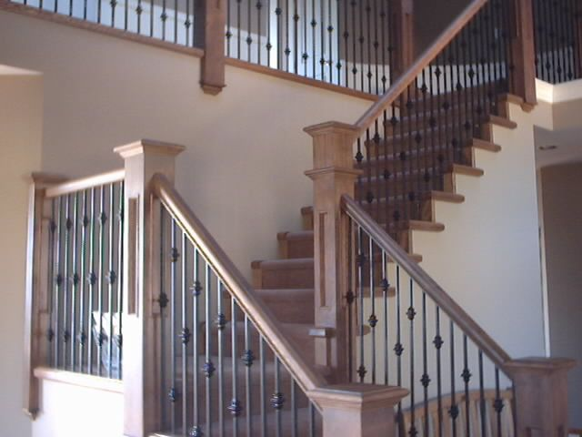 Best Iron Railing With Square Wood Posts Hardwood Iron 400 x 300