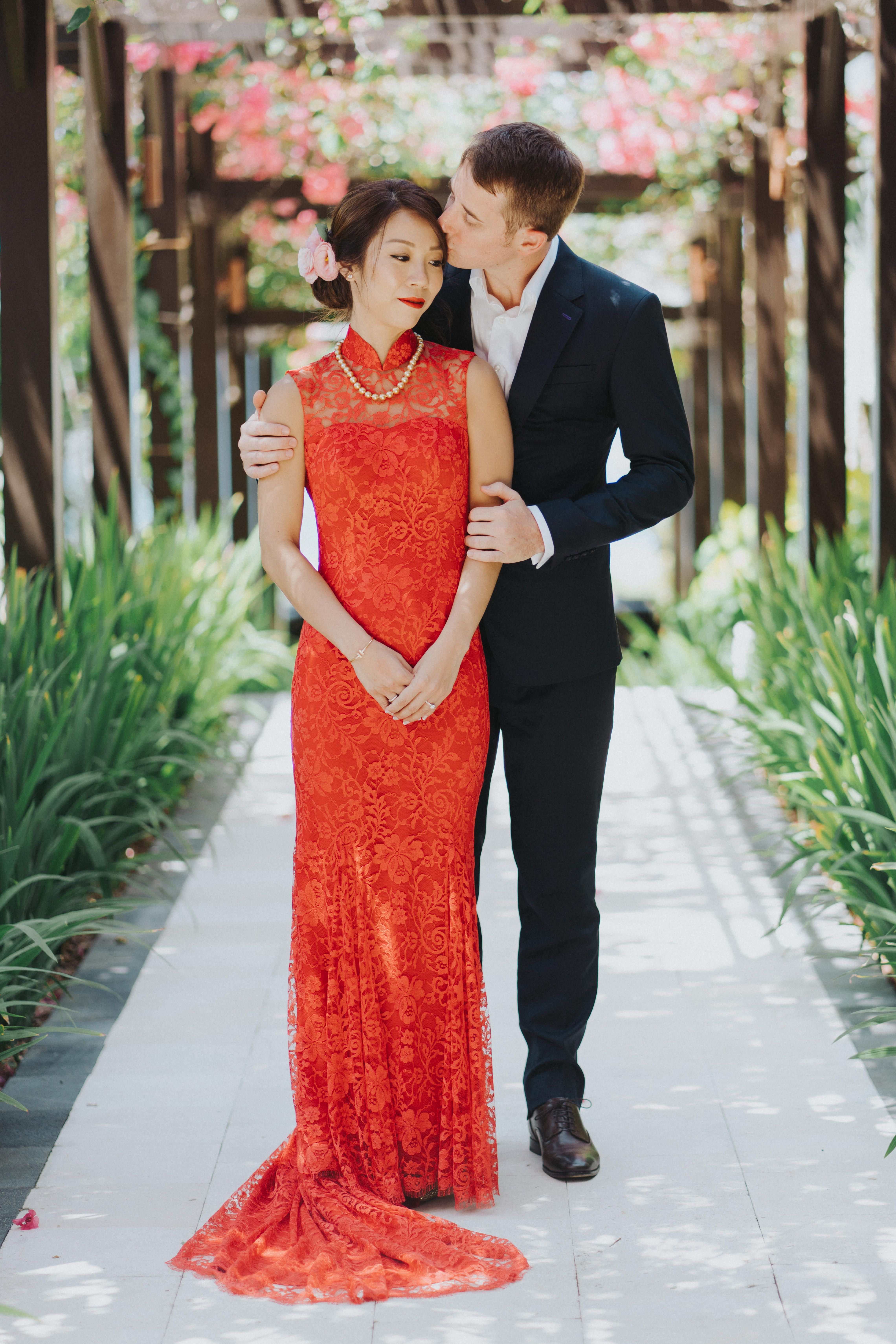 Red French Lace Wedding Cheongsam Mothers Gowns Plus Size Evening Gown French Lace Wedding [ 6837 x 4560 Pixel ]