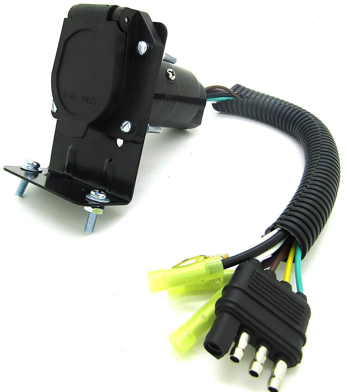 medium resolution of 4 flat to 7 way round rv trailer light plug wire harness converter adaptor plug