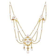 Art Nouveau Freshwater Pearl Diamond Gold Swag Necklace