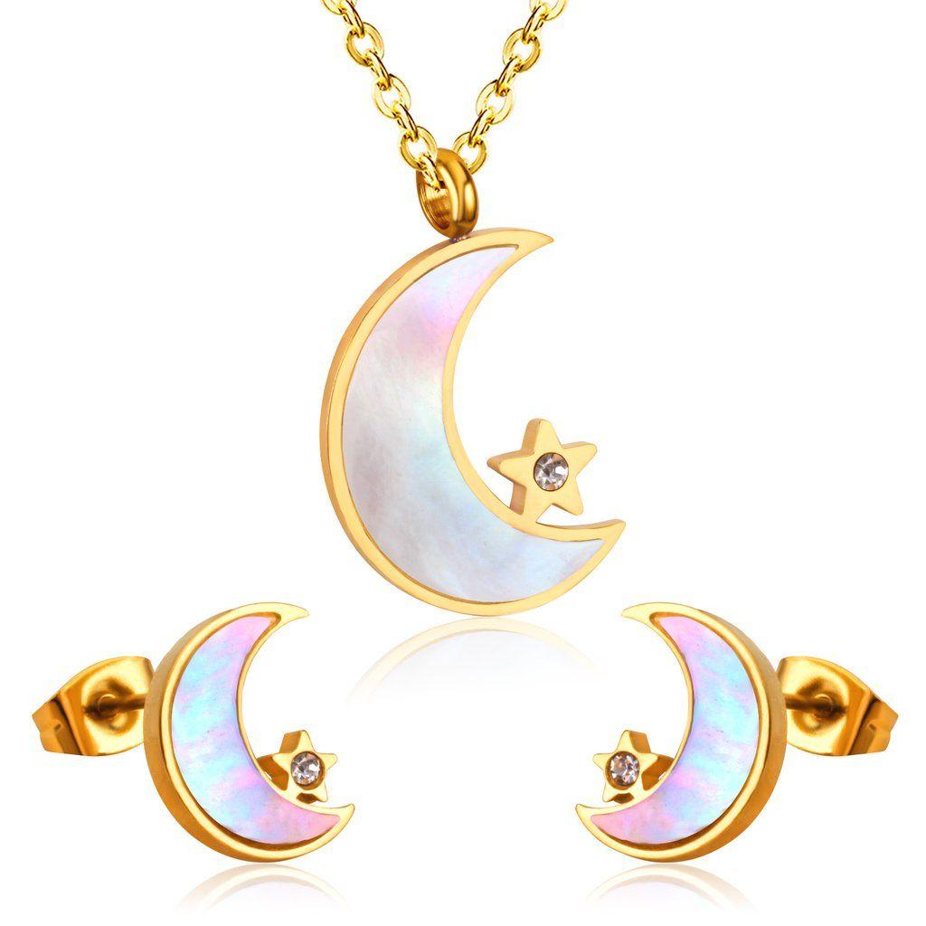 Dainty half moon necklace u earring set delicate dainty jewlery