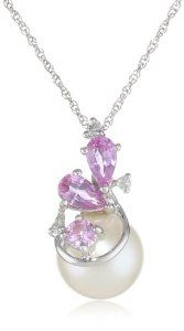 10k White Gold Sapphire, Freshwater Cultured Pearl and Diamond Pendant Necklace (0.03 cttw GH, Color, I2-I3 Clarity), 17""