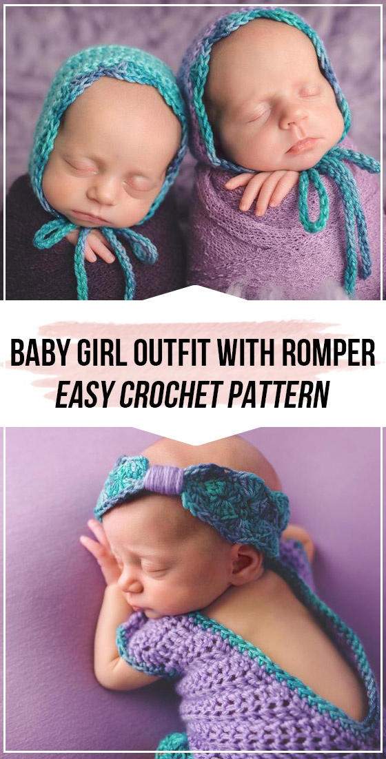 Photo of Crochet Newborn Baby Girl Outfit with Romper pattern