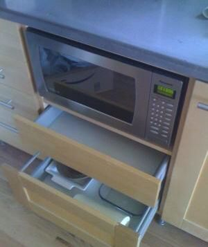 microwave shelf under counter drawers