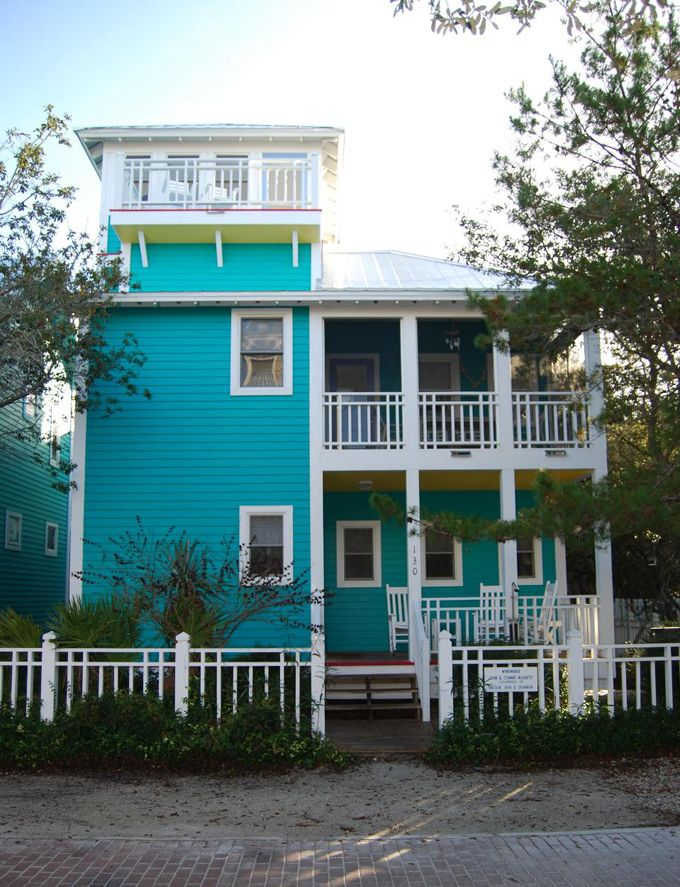 Turquoise houses of seaside florida curb appeal house - Florida home exterior paint colors ...