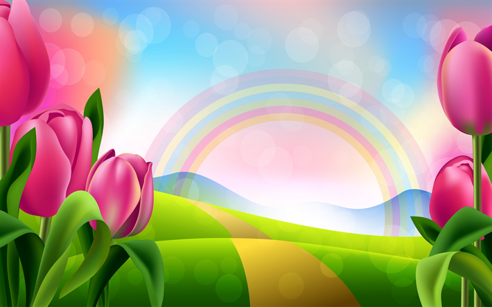 Download wallpapers spring landscape, purple tulips, rainbow ...