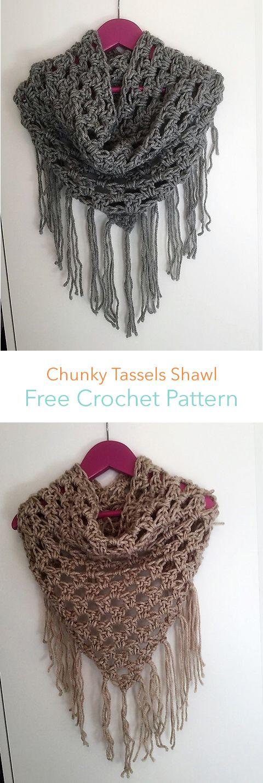 Chunky Tassels Shawl Free Crochet Pattern #crochet #free #crafts ...