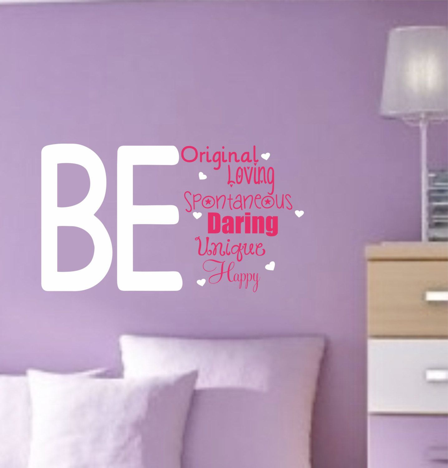 Girl vinyl wall decals teen saying bedroom decor by for Wall art for teenage girl bedrooms