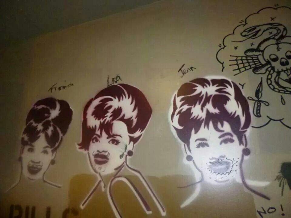 Spray paint graffiti ladies