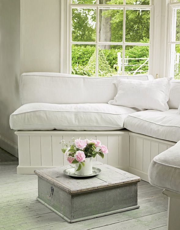 Beautiful Vintage Piece Used As A Low Table Love The Bench Cushions Cozy And Inviting For Breezeway Window Area