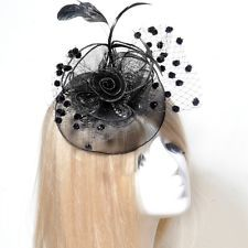 unique wedding party lady fascinator feather black hair clip accessory handmade : Want more? https://bitly.com/showmemorepls