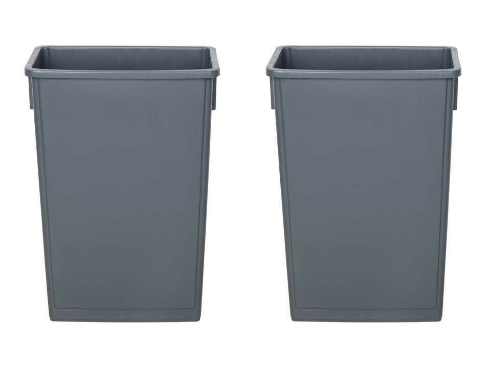 2 Pack 23 Gallon Heavy Duty Gray Plastic Slim Commercial Kitchen